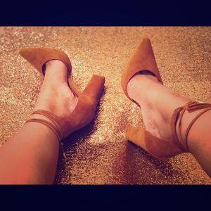 Suede Tie-up Heels